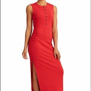 Athleta ribbed Henley maxi dress red medium tall